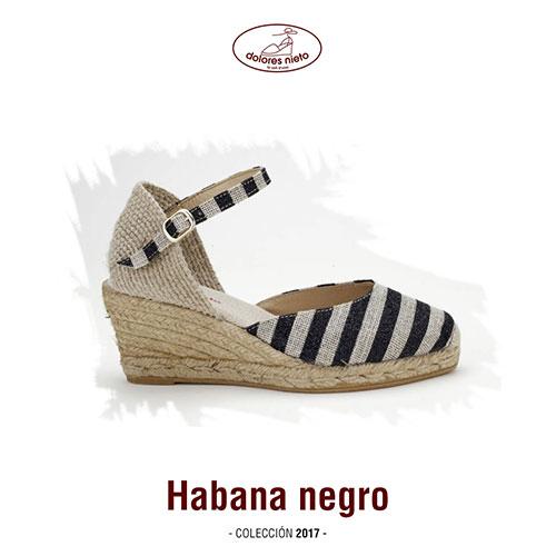 La alpargata cuña media Habana negro de Dolores Nieto